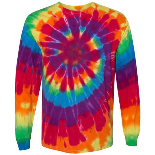 OmniTee Rainbow Tie Dye Liquid Cyclone Hand-Dyed Long Sleeve T-Shirt