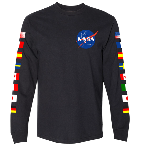NASA Astronaut Group 16 Black Long Sleeve T-Shirt with Flags on Sleeves
