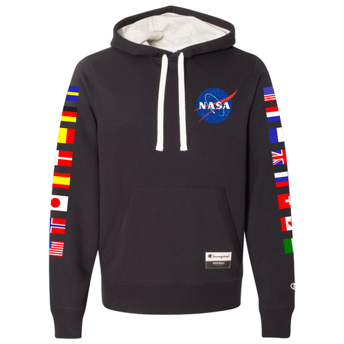 NASA International Space Station (ISS) Black Champion PULLOVER Hoodie Sweatshirt with Flags on Sleeves - Front