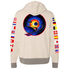 Load image into Gallery viewer, NASA International Space Station (ISS) Oatmeal Champion PULLOVER Hoodie Sweatshirt with Flags on Sleeves Back