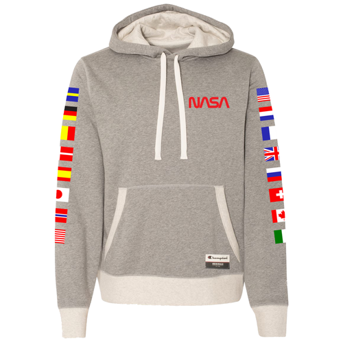 NASA International Space Station (ISS) Grey Champion PULLOVER Hoodie Sweatshirt with Flags on Sleeves - Front