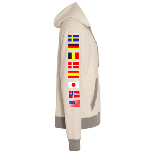 NASA International Space Station (ISS) Oatmeal Champion PULLOVER Hoodie Sweatshirt with Flags on Sleeves Left Side
