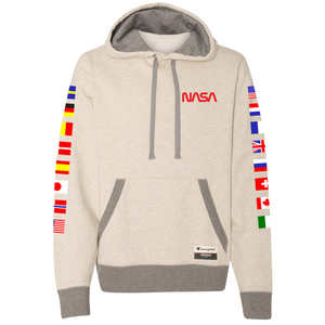 NASA International Space Station (ISS) Oatmeal Champion PULLOVER Hoodie Sweatshirt with Flags on Sleeves Front