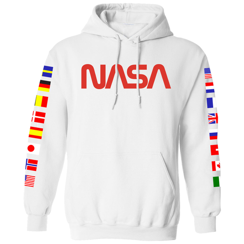 NASA Limited Edition Worm Logo Spacex Hoodie Sweatshirt with Flags on Sleeves