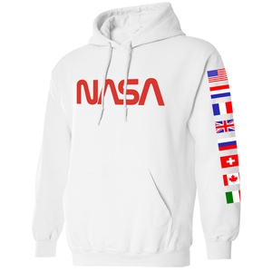 Left NASA Limited Edition Worm Logo Spacex Hoodie Sweatshirt with Flags on Sleeves