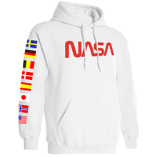 Load image into Gallery viewer, NASA Limited Edition Worm Logo Spacex Hoodie Sweatshirt with Flags on Sleeves Right
