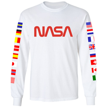 Load image into Gallery viewer, NASA Spacex 2020 Limited Edition Worm Logo Long Sleeve T-Shirt with ISS Flags on Sleeves