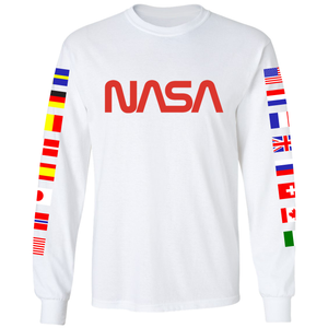 NASA Spacex 2020 Limited Edition Worm Logo Long Sleeve T-Shirt with ISS Flags on Sleeves