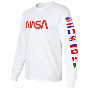 NASA Spacex 2020 Limited Edition Worm Logo Long Sleeve T-Shirt with ISS Flags on Sleeves left
