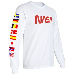 NASA Spacex 2020 Limited Edition Worm Logo Long Sleeve T-Shirt with ISS Flags on Sleeves right