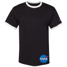 Load image into Gallery viewer, NASA Insignia Meatball Logo Champion Black Ringer Tee