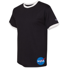 Load image into Gallery viewer, NASA Insignia Meatball Logo Champion Black Ringer Tee side