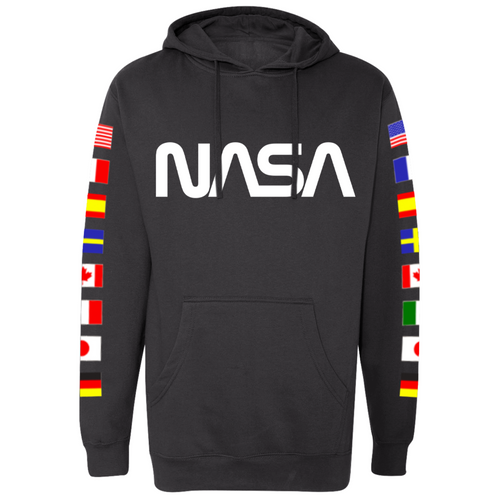 NASA Worm Logo Black Hoodie Sweatshirt with Flags on Sleeves