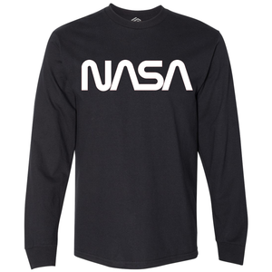 OmniT-Shirt Shirts - NASA Worm Logo Black Long Sleeve Shirt White Logo
