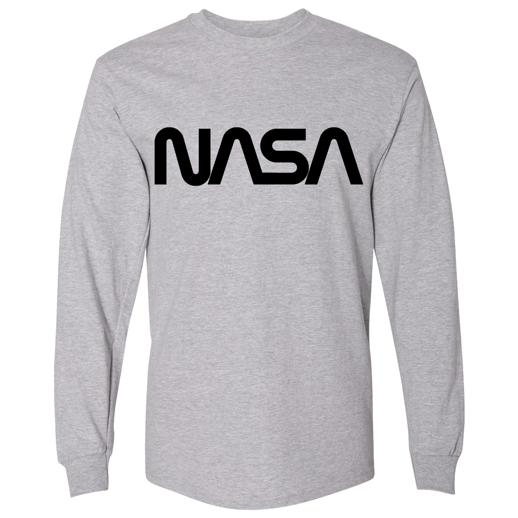 OmniT-Shirt Shirts NASA Worm Logo Grey Long Sleeve Shirt Black Logo