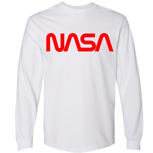 NASA Worm (Red) Heavyweight White Long Sleeve T-Shirt for Men