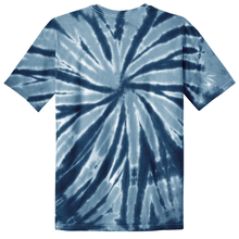 Load image into Gallery viewer, OmniTee Navy Blue Liquid Pinwheel Hand Dyed Youth T-Shirt Back