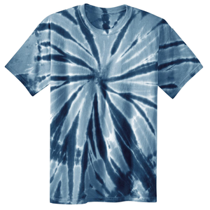 OmniTee Navy Blue Liquid Pinwheel Hand Dyed Youth T-Shirt Front