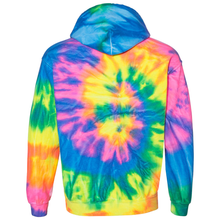 Load image into Gallery viewer, OmniTee Neon Trip Tie Liquid Cyclone Dye Hand Dyed Hoodie Back
