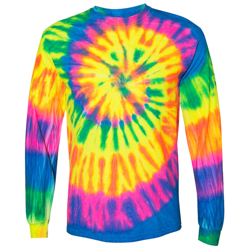 OmniTee Long Sleeve Neon Trip Tie Dye Liquid Cyclone Hand Dyed T-Shirt Front