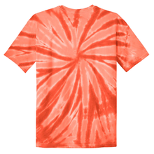 Load image into Gallery viewer, OmniTee Orange Peel Liquid Pinwheel Hand Dyed Youth T-Shirt Back