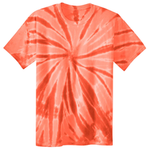 Load image into Gallery viewer, OmniTee Orange Peel Liquid Pinwheel Hand Dyed Youth T-Shirt Front