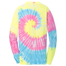 Load image into Gallery viewer, OmniTee Pastel Rain Tie Dye Liquid Tornado Hand Dyed Long Sleeve Shirt Back