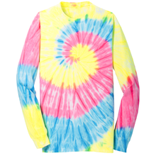 Load image into Gallery viewer, OmniTee Pastel Rain Tie Dye Liquid Tornado Hand Dyed Long Sleeve Shirt Front