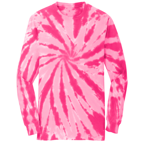 OmniTee Pink Blossom Tie Dye Liquid Pinwheel Hand Dyed Longsleeve Shirt Front