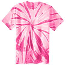 Load image into Gallery viewer, OmniTee Pink Blossom Liquid Pinwheel Hand Dyed Youth T-Shirt Front
