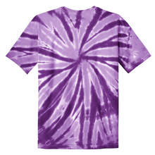 Load image into Gallery viewer, OmniTee Purple Phaze Liquid Pinwheel Hand Dyed Youth T-Shirt Back