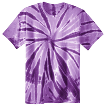 Load image into Gallery viewer, OmniTee Purple Phaze Liquid Pinwheel Hand Dyed Youth T-Shirt Front