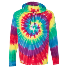 Load image into Gallery viewer, OmniTee Rainbow Tie Dye Liquid Cyclone Hand Dyed Hoodie Front