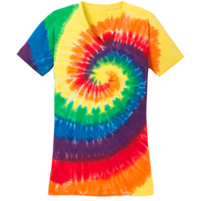 Load image into Gallery viewer, OmniTee Rainbow Rush Tie Dye Liquid Tornado V-Neck Tee Front