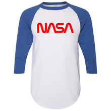 Load image into Gallery viewer, OmniT-Shirt Shirts NASA Baseball T-Shirt Blue Sleeve Red Worm Logo