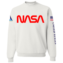 Load image into Gallery viewer, NASA Red Worm Logo Shuttle Patch Crewneck Sweater - Front