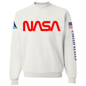 NASA Red Worm Logo Shuttle Patch Crewneck Sweater - Front
