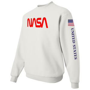 NASA Red Worm Logo Shuttle Patch Crewneck Sweater - Left Side