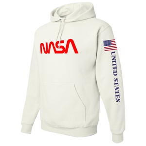 NASA Red Worm Logo Shuttle Patch Custom Pullover Hoodie - Left Side