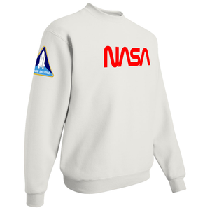 NASA Red Worm Logo Shuttle Patch Crewneck Sweater - Right Side
