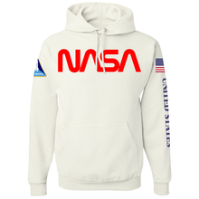Load image into Gallery viewer, NASA Red Worm Logo Shuttle Patch Custom Pullover Hoodie - Front