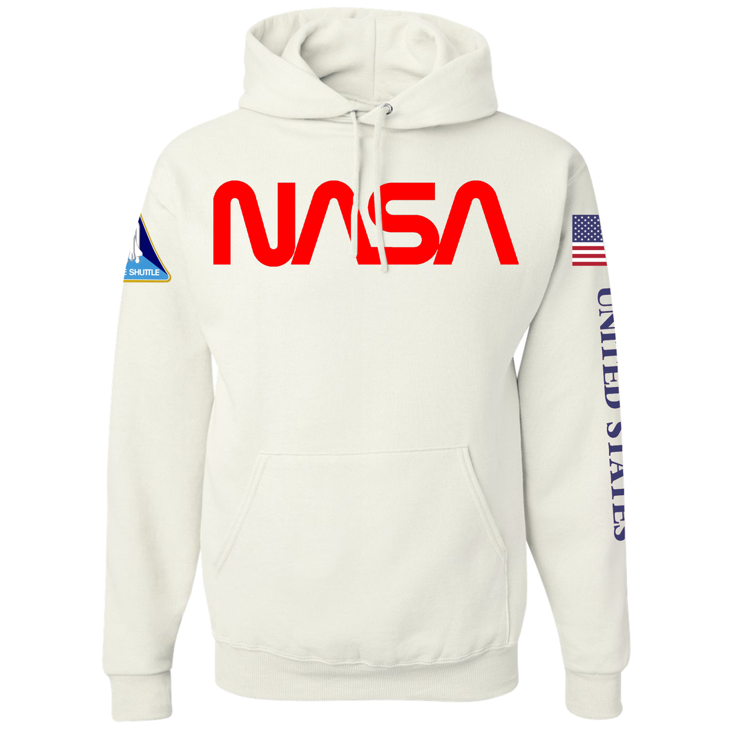 NASA Red Worm Logo Shuttle Patch Custom Pullover Hoodie - Front