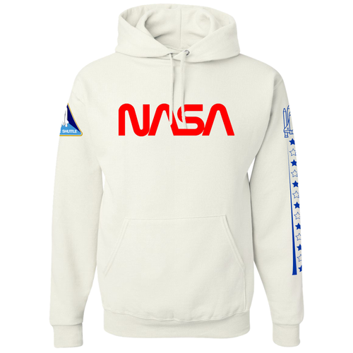 NASA Worm Logo Space Shuttle Take Off White Heavy-Duty Pullover Hoodie Sweatshirt - Front