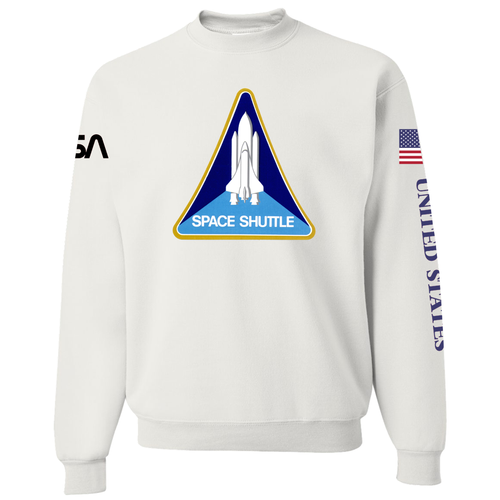 NASA Black Worm Patch Shuttle Logo Crewneck Sweater - Front