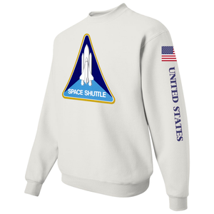 NASA Black Worm Patch Shuttle Logo Crewneck Sweater -  Left Side