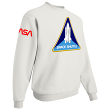 Load image into Gallery viewer, NASA Red Worm Patch Shuttle Logo Crewneck Sweater - Right Side