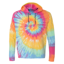 Load image into Gallery viewer, OmniTee Sunshine Daydream Tie Dye Liquid Cyclone Hand Dyed Hoodie Front