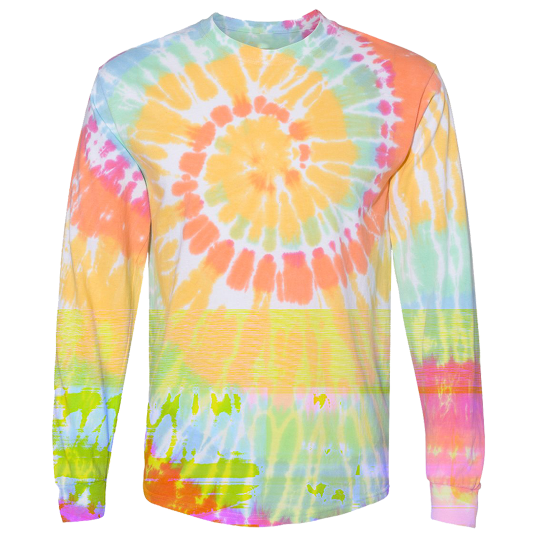 OmniTee Long Sleeve Sunshine Daydream Tie Dye Liquid Cyclone Hand Dyed T-Shirt Front