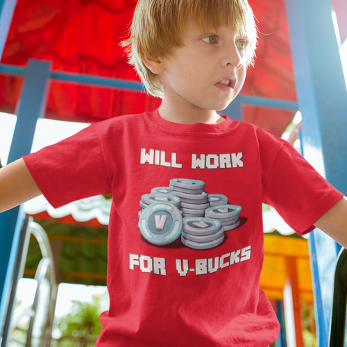 Will Work For V-Bucks Kids' Fortnite Video Game T-Shirt