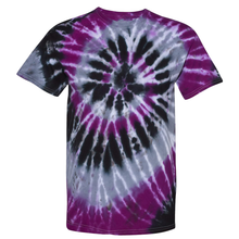 Load image into Gallery viewer, OmniTee Violet Kraken Tie Dye Liquid Cyclone Hand-Dyed T-Shirt Front